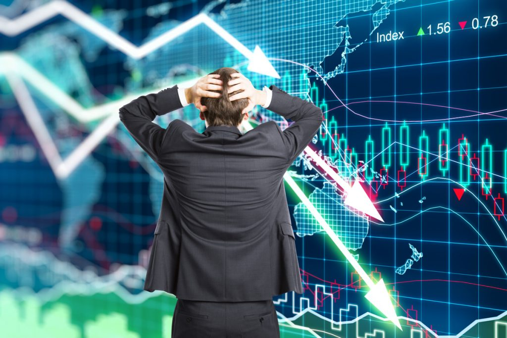 illustration of the concept on financial crisis with a men in panic
