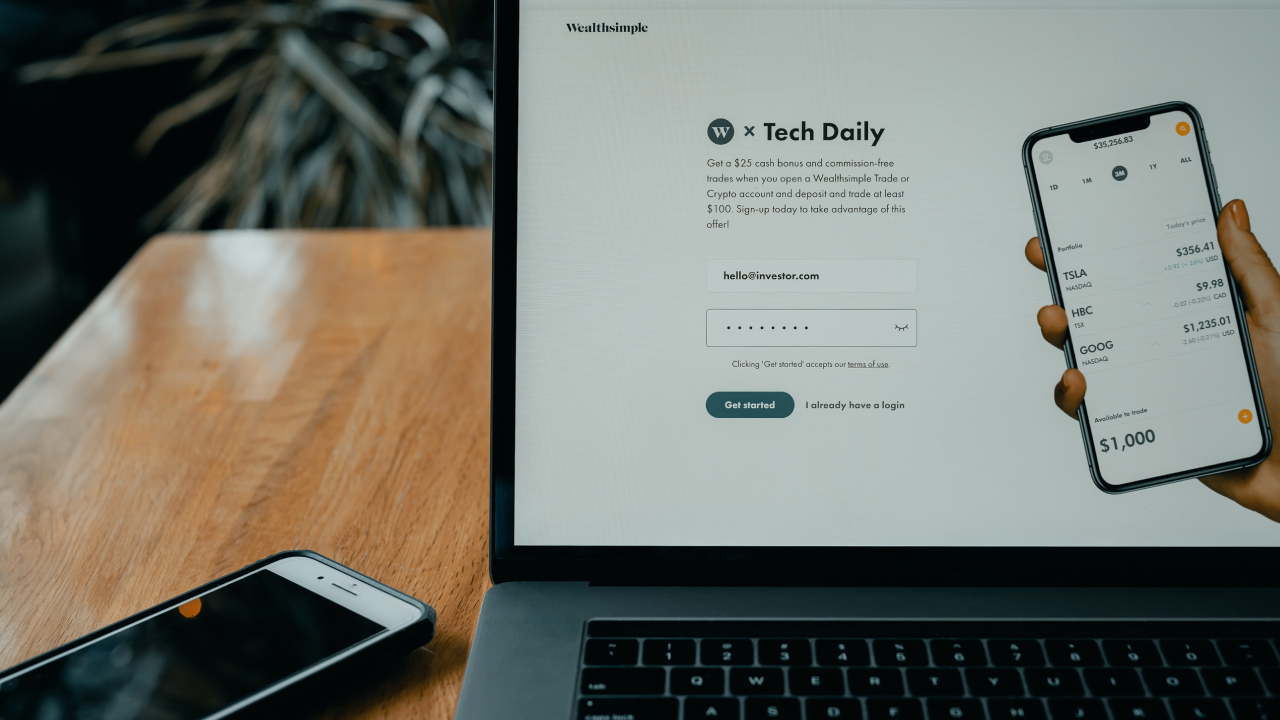 wealthsimple login page on a computer